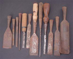 Group of Approx 11 Chisels and 1 Gouge. Including