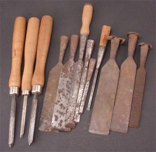 Group of 12 Chisels, some abused. All rusty. Five