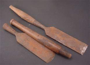 Two Antique Chisels with wooden handles.