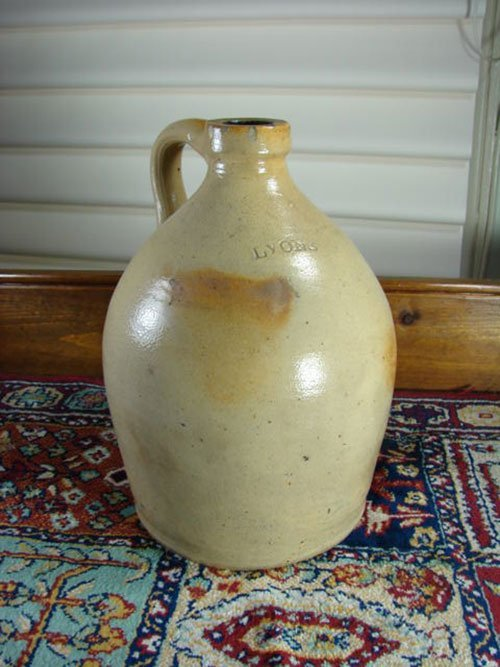 "3: Lyons Signed 1 Gallon Stoneware Jug. 10 1/2"" h x 6 1"