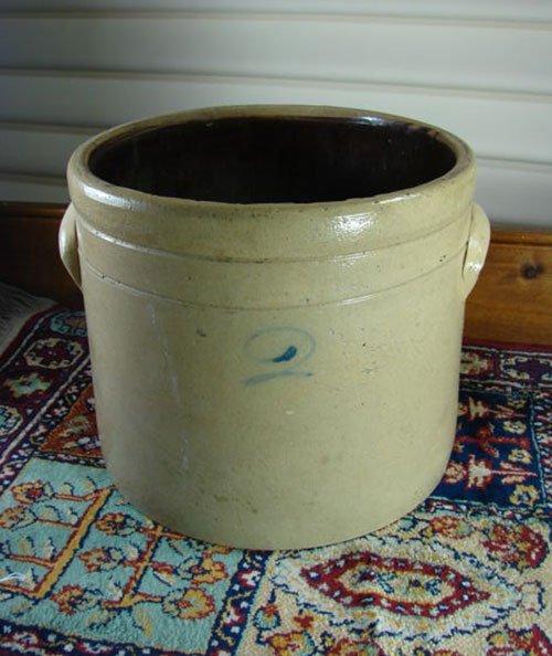 8: Antique stoneware Crock, 2 gallon with cobalt blue n