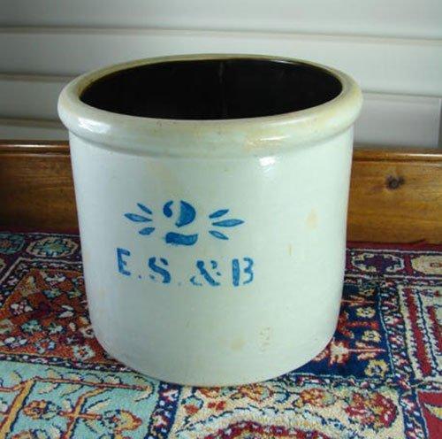9: E.S. & B. antique stoneware crock. 2 gallon with blu