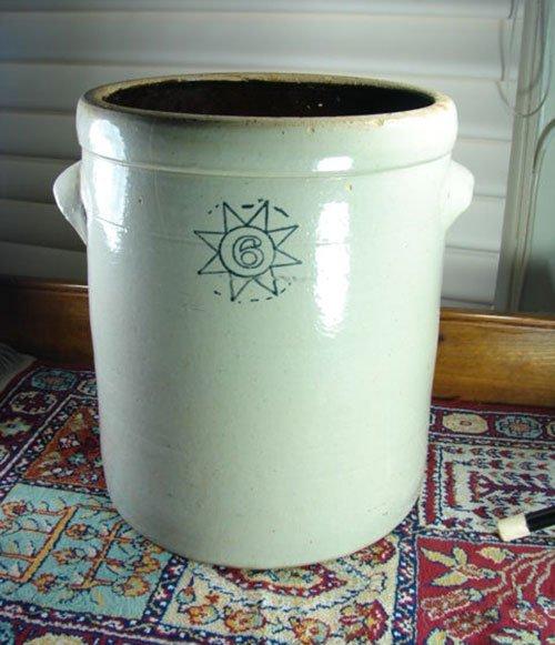 """10: 6 Gallon Antique Stoneware Crock. 14 1/2"""" h x 14"""" d"""