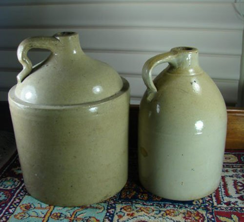 """12: Two Antique Stoneware Jugs. Unmarked. Largest 13"""" h"""