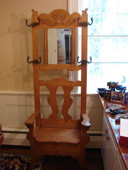 16: Victorian Golden Oak Hall Seat, fancy cast hooks, b