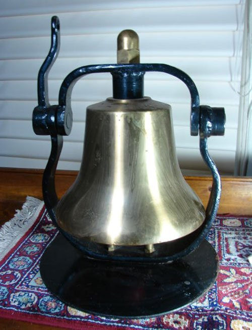 18: Antique Railroad / Ship Bell. Fine antique brass be
