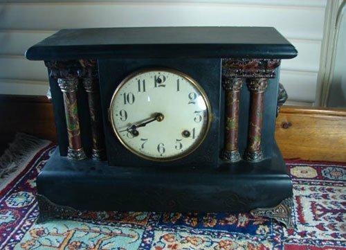 21: Waterbury Antique Architectural Mantle Clock in fau
