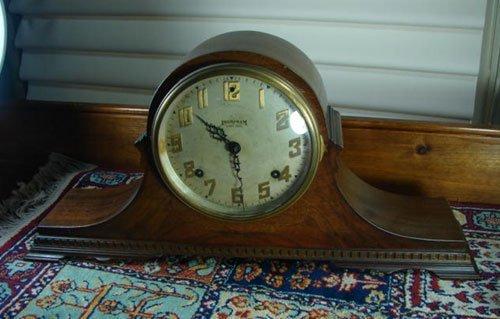 22: Ingraham Antique Mahogany Mantle Clock, camel back