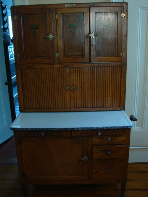 45: Antique Oak Hoosier Kitchen Cabinet. Complete with