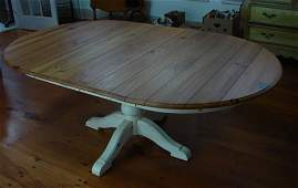 49: Ethan Allen Pine Extension Dining Table with white