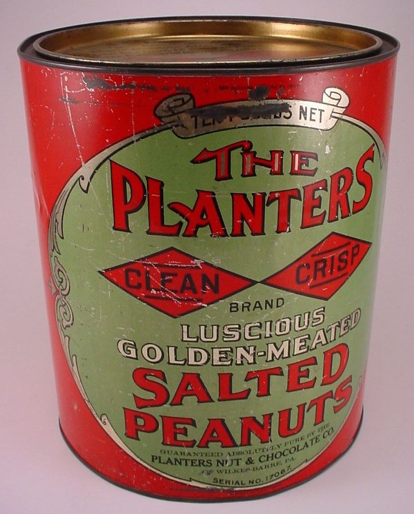 """2309: """"The Planters"""" salted peanuts red tin. H9.75"""" W8."""
