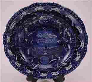 """Historical blue Staffordshire """"Clews"""" plate. 1 3/"""