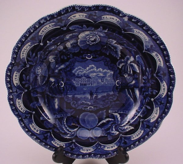 """4001: Historical blue Staffordshire """"Clews"""" plate. 1 3/"""
