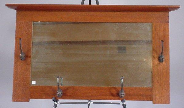 """4004: """"L & J.G."""" Stickley Quartered Oak Hanging Mirror"""