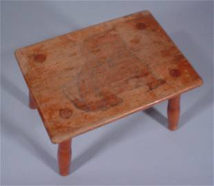 """Rare """"L & J.G."""" Stickley Foot Stool with """"Bill Br"""