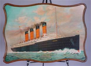 """Cunard Line"" Original Color Lithographed Tin ""Lu"