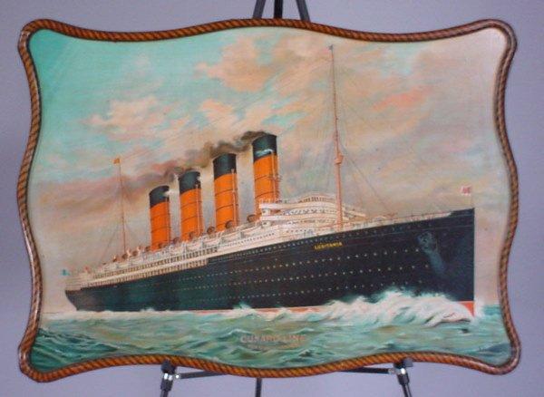 "4008: ""Cunard Line"" Original Color Lithographed Tin ""Lu"