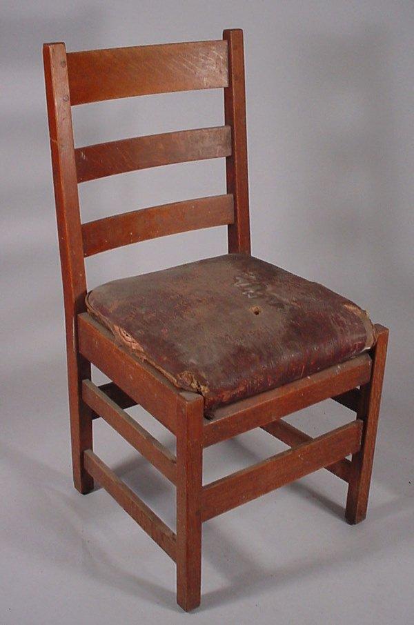 "4010: ""L & J.G."" Stickley Mission Oak side chair"