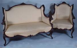 4015 2 pc Victorian Parlor Suite fine carved mahogany
