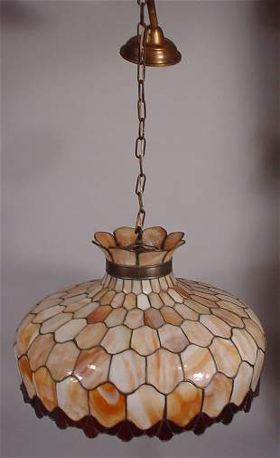 Early electric stained & leaded glass chandelier.