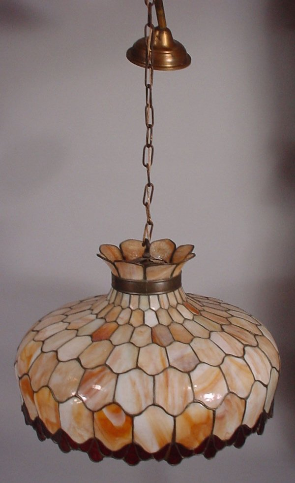 4016: Early electric stained & leaded glass chandelier.