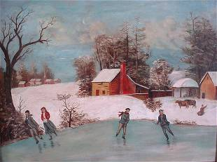 Primitive American Oil Painting, winter landscape