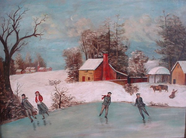 4018: Primitive American Oil Painting, winter landscape
