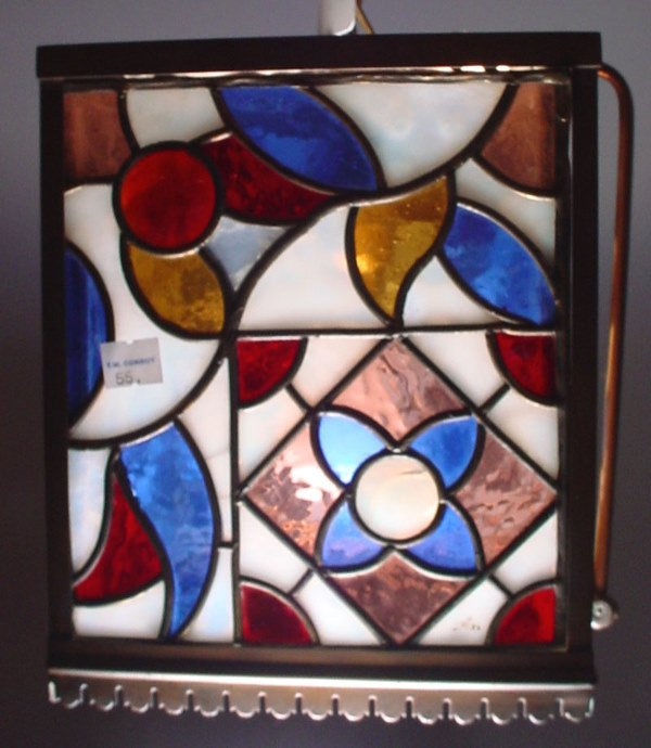 4019: Stained & leaded glass Hanging Hall Fixture