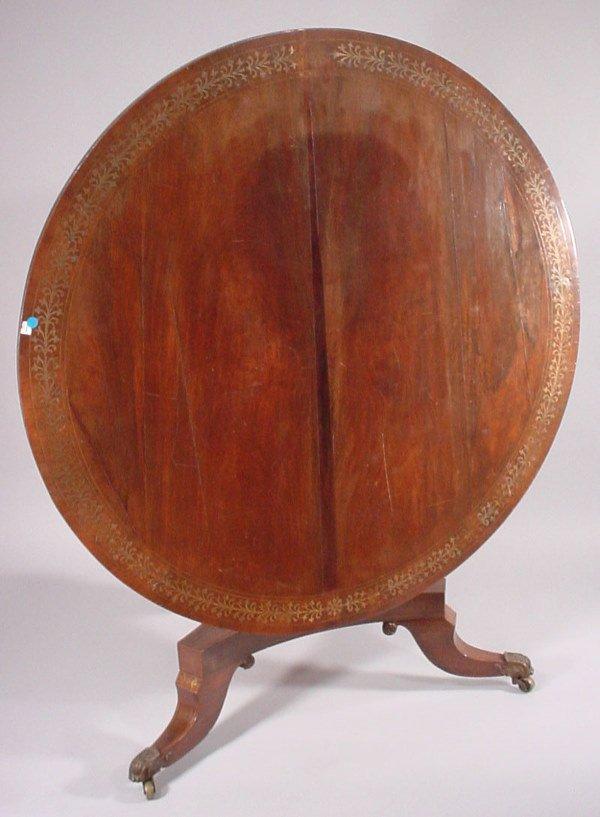 4020: Large Antique Inlaid Mahogany Tilt-Top Breakfast
