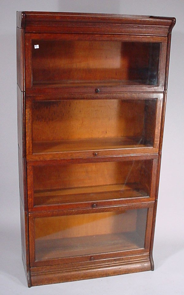 4021: Victorian Oak 4 section Barrister's Bookcase