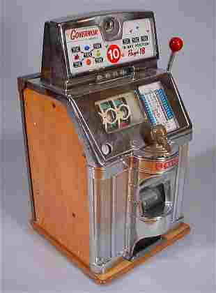 """Jennings"" Vintage Slot Machine with brass Native"