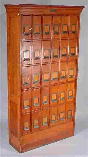 """The Tucker File"" Antique Oak 30 drawer filing ca"
