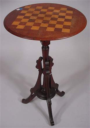 Victorian checkerboard inlaid stand constructed o