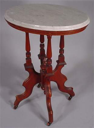 Victorian walnut parlor lamp stand with white mar