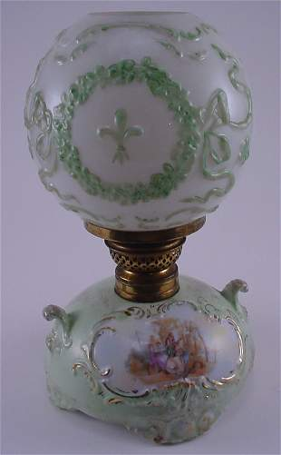 19th C. Rococo style porcelain glass boudoir lamp
