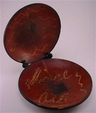 2pc. Early Slip decorated Redware baking dishes.