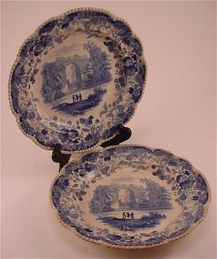 "2pc Staffordshire transfer decorated plates ""Natu"
