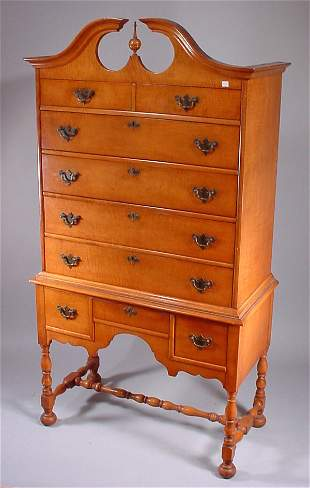 Transitional Queen Anne Style High Boy. Tiger map
