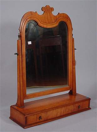 """Tiger Maple shaving mirror with drawer. Marked """"P"""