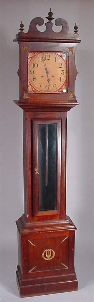"Tall Case Clock ""Ithaca""? Brass movement paper di"