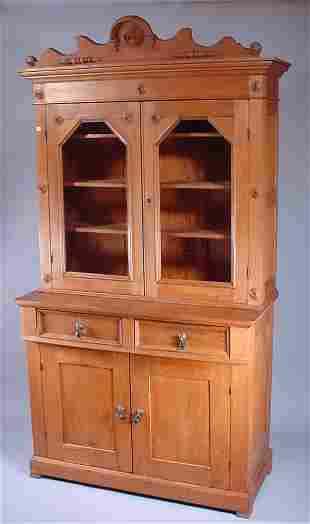 Country-Victorian step back kitchen cabinet in bu