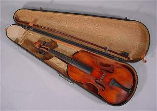 """Violin Signed """"C.A. Rice"""" in wooden case. 1 5/8"""""""