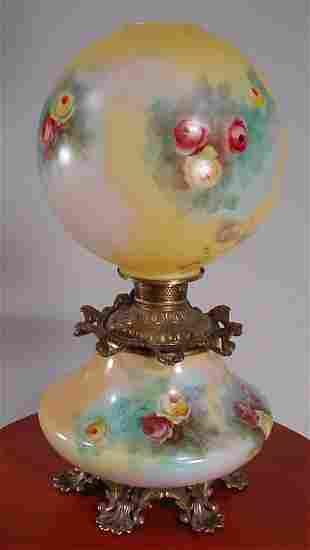 Victorian brass and painted milk glass kerosene l