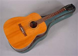 """Acoustic Guitar with Case. Maker unknown. 40""""l x"""