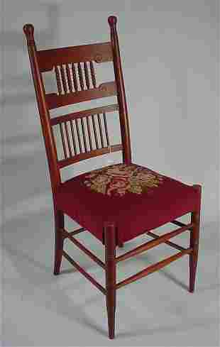 Victorian Oak spindle back Side Chair w/needlepoi