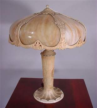Early electric painted white metal table lamp. 6