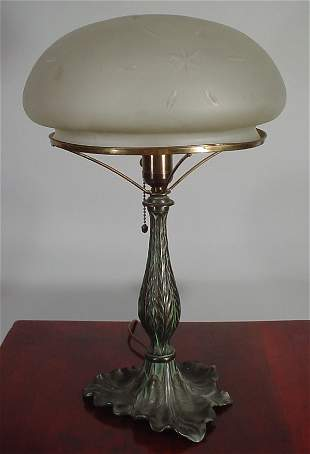 """""""Pairpoint"""" ? early electric table lamp with cut"""