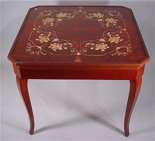 """Marquetry Inlaid Multi-Games Table. 20th c. 30""""h"""