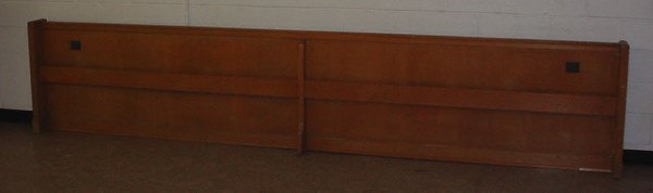 4012: Two 20th c. Oak Church Pew Fronts. Each approx. 1