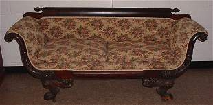 19th c. Empire style Carved Mahogany Settee. Feat